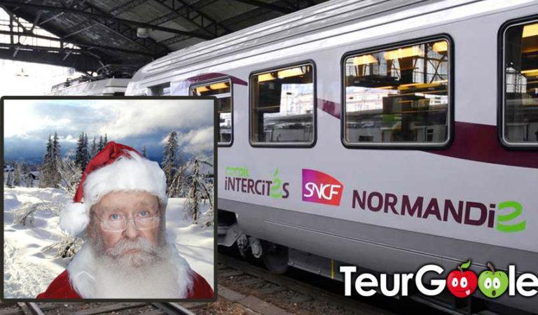 Le père noël découvre le train en Normandie et accuse un retard de 4h30 environ