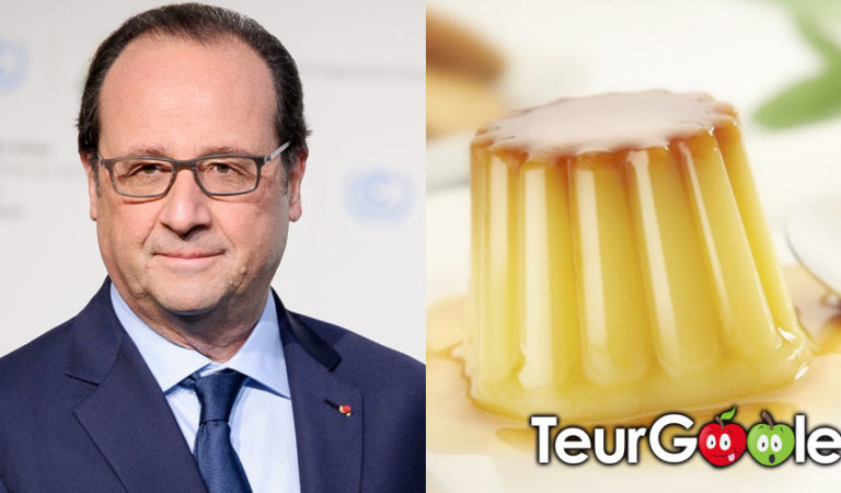 François Hollande en dédicace au rayon laitier à côté des Flamby