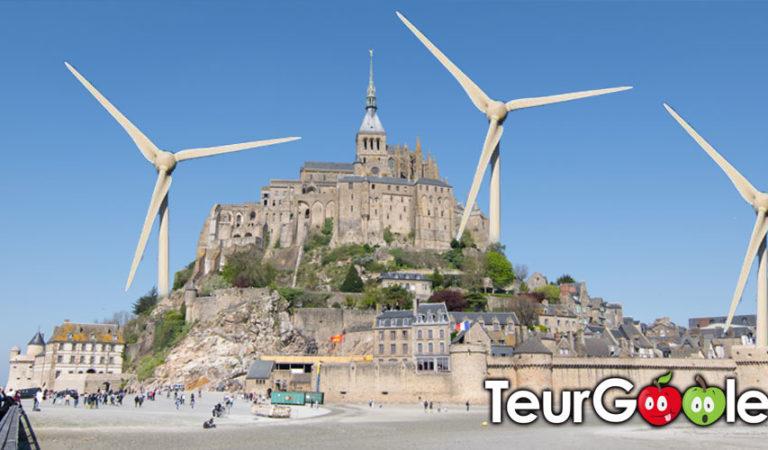 Transition énergétique : des éoliennes au Mt-St-Michel.